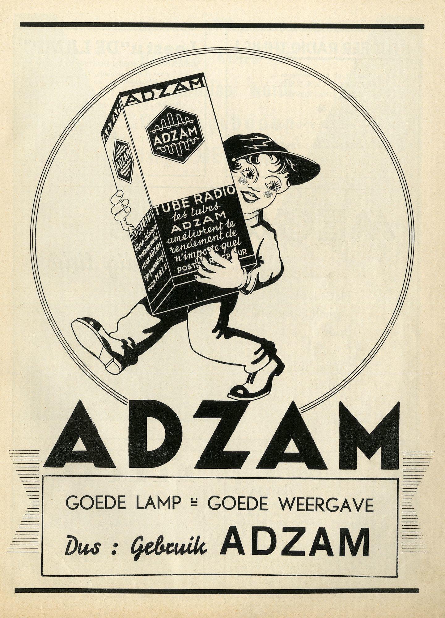 Reclame voor lampen van het merk Adzam