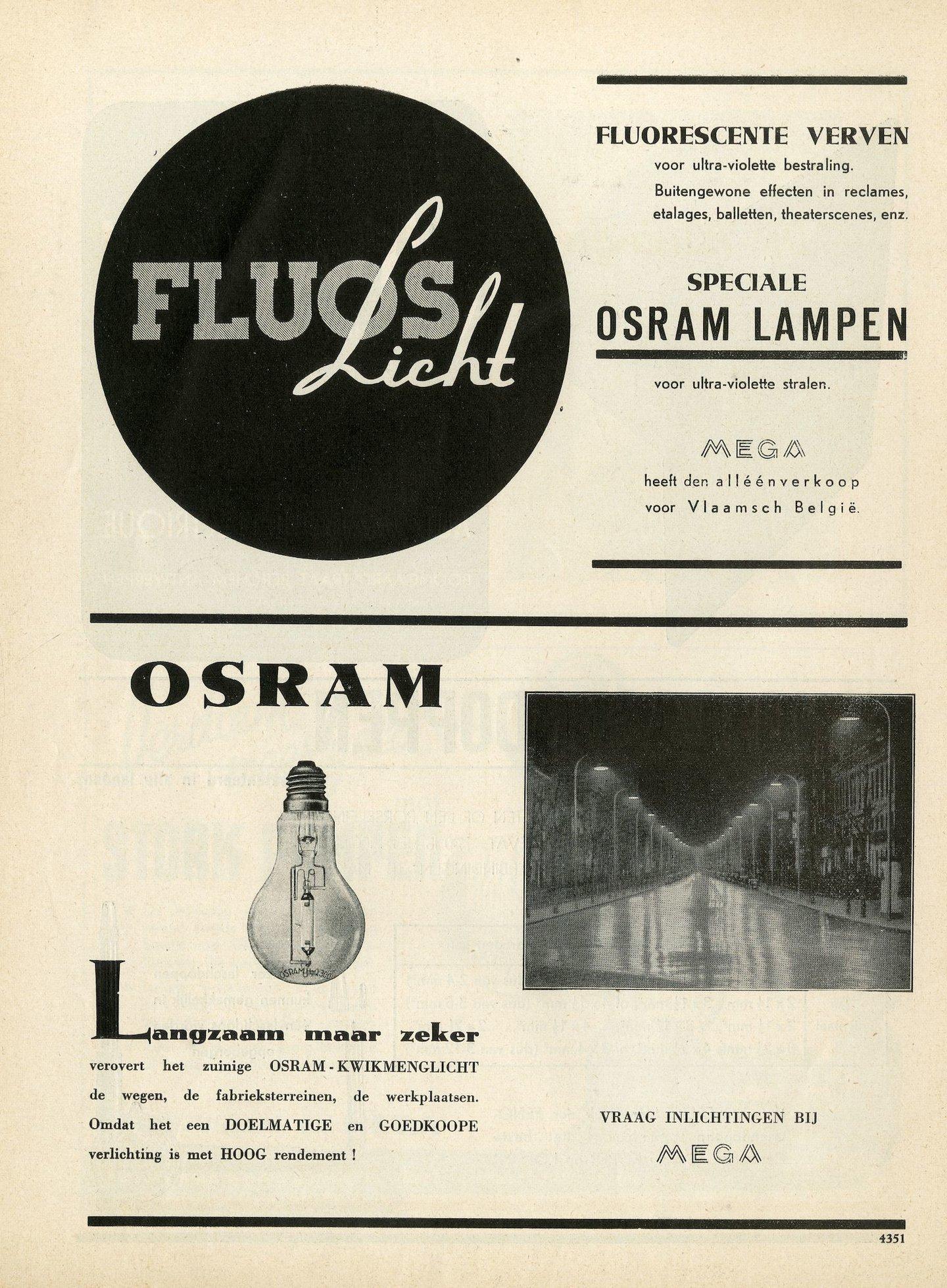 Reclame voor lampen van het merk Osram