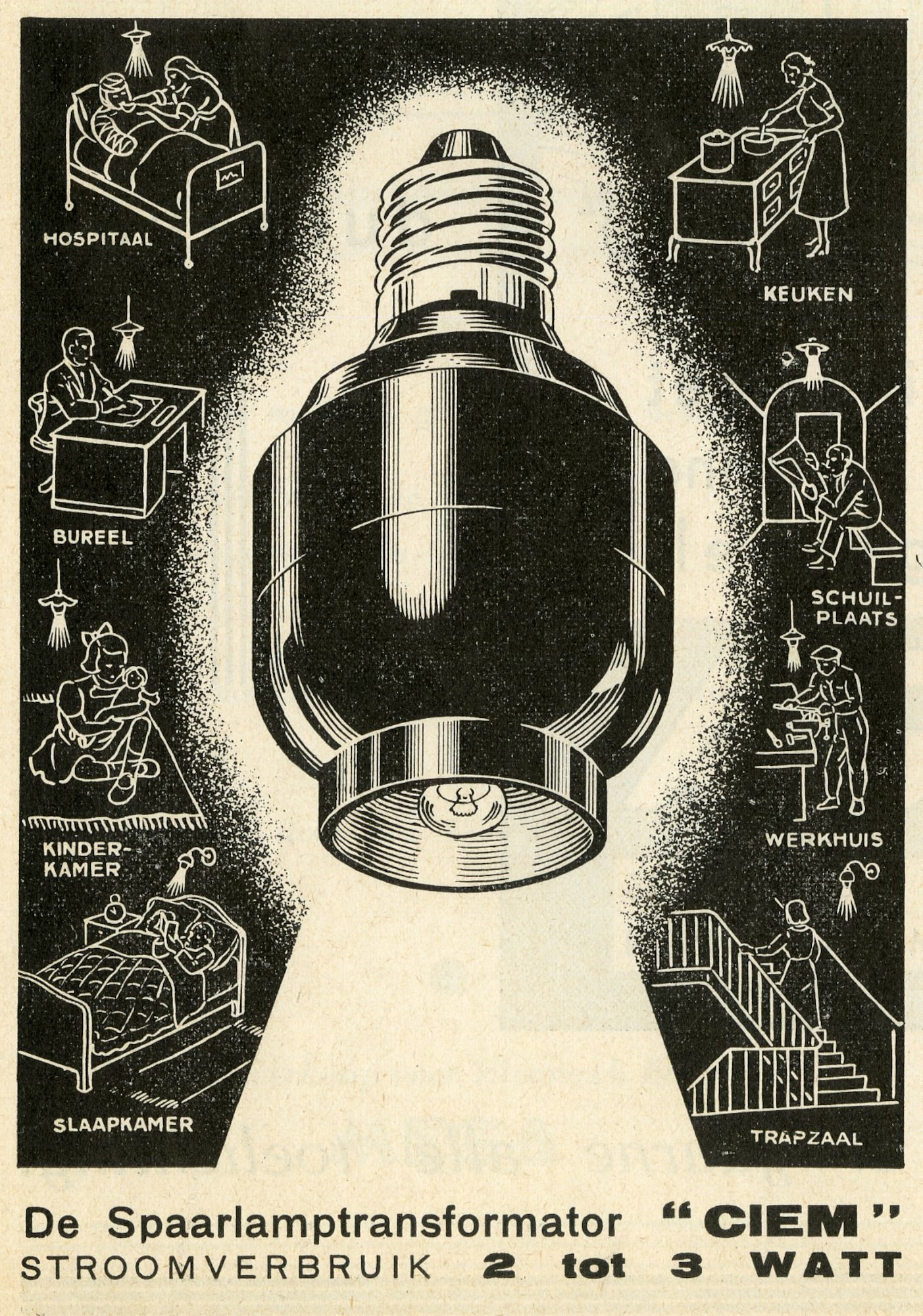 Reclame voor spaarlamptransformatoren van het merk Ciem