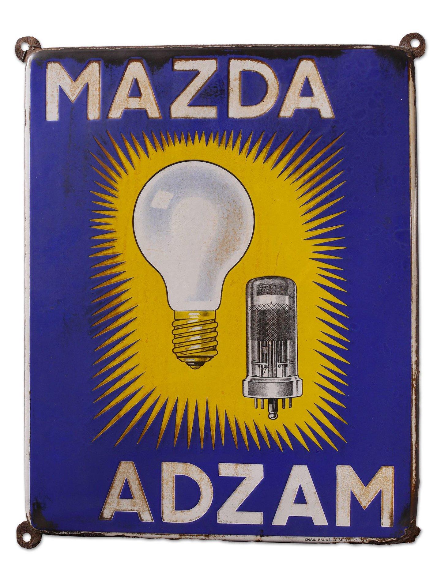 Geëmailleerd reclamebord voor lampen van het merk Mazda en Adzam