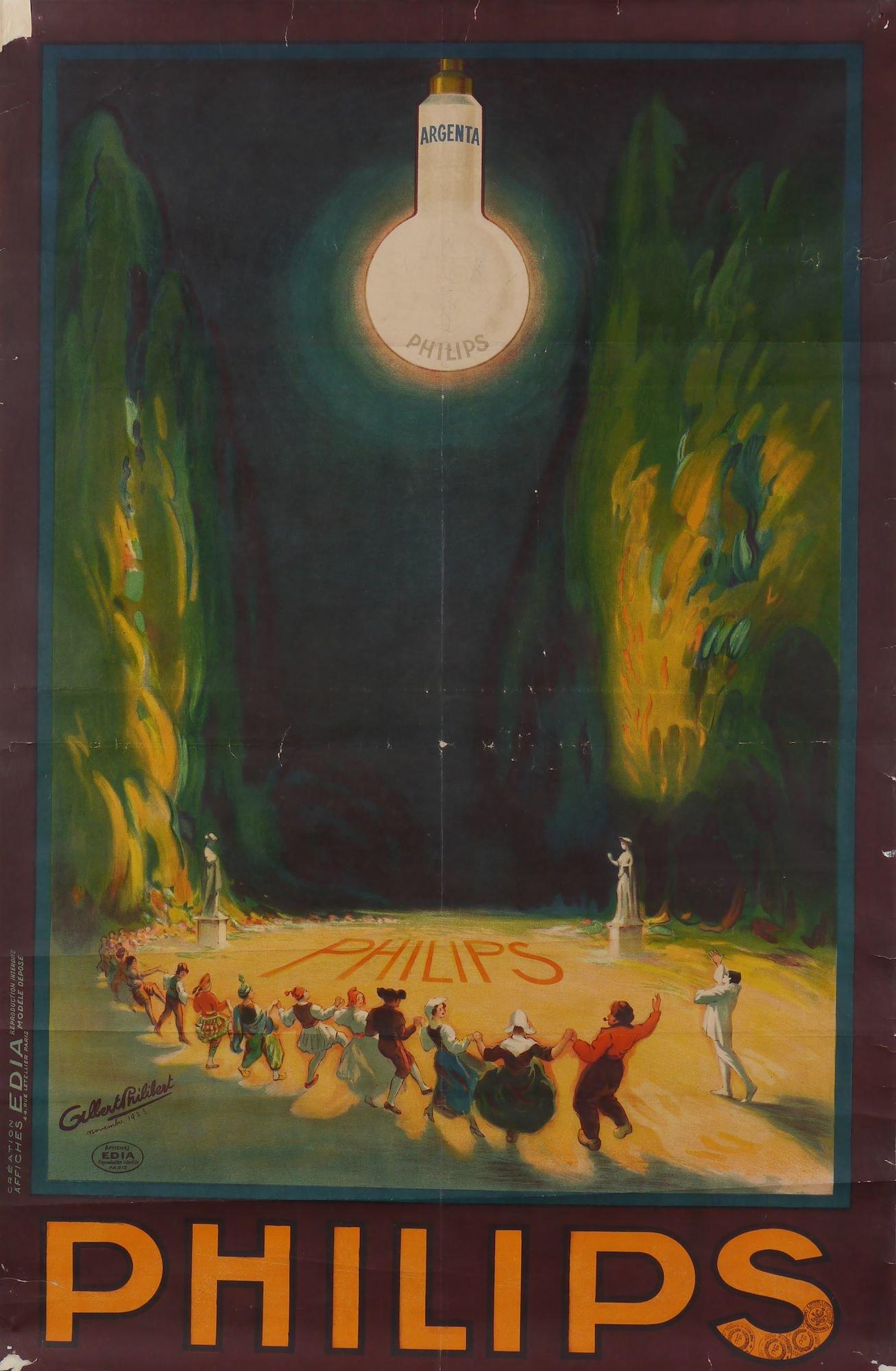 Affiche voor gloeilampen van het merk Philips type Argenta