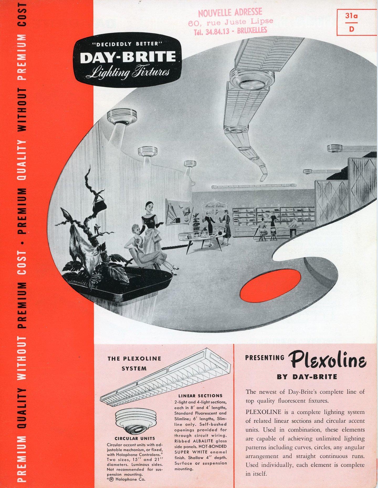 Reclamefolder voor verlichtingsarmaturen van het merk Day-Brite