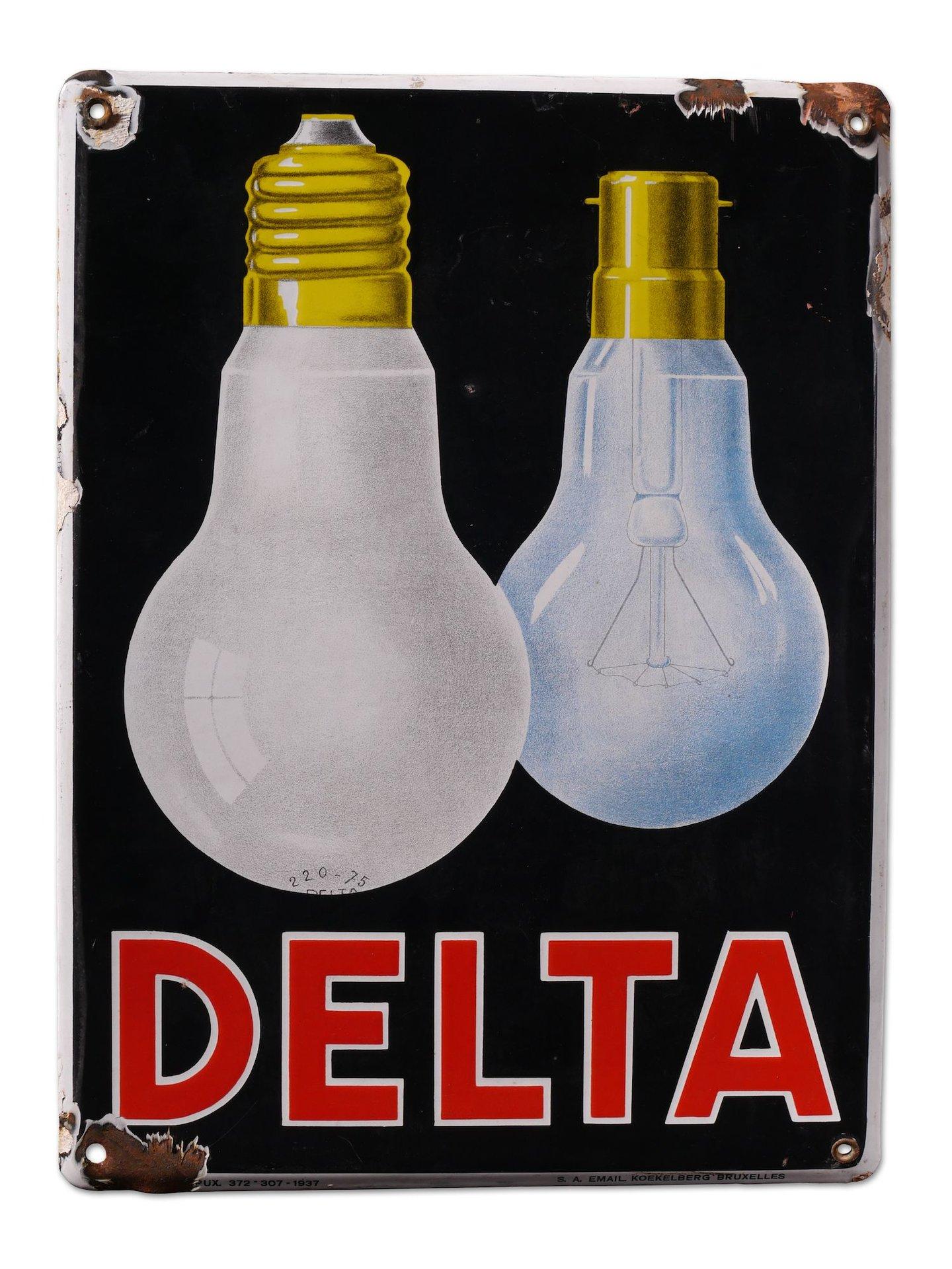 Geëmailleerd reclamebord voor lampen van het merk Delta