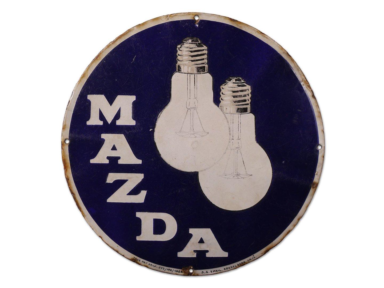 Geëmailleerd reclamebord voor lampen van het merk Mazda