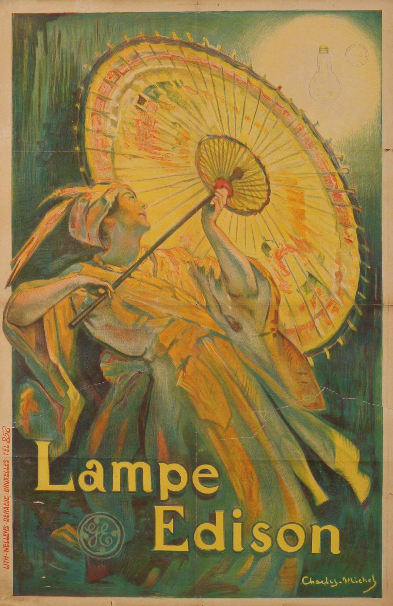 Publicitaire kleurenlitho voor Edisonlampen van het merk General Electric