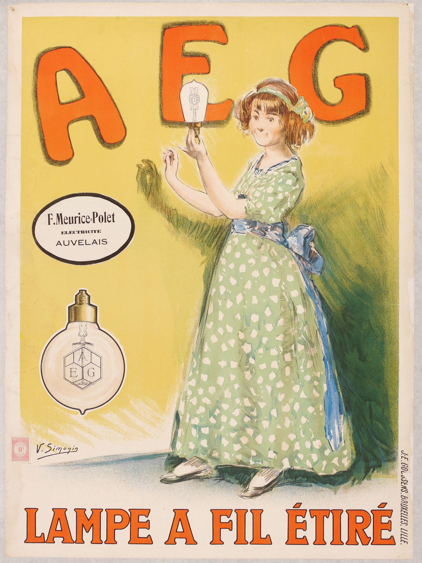 Publicitaire affiche voor gloeilampen van het merk AEG