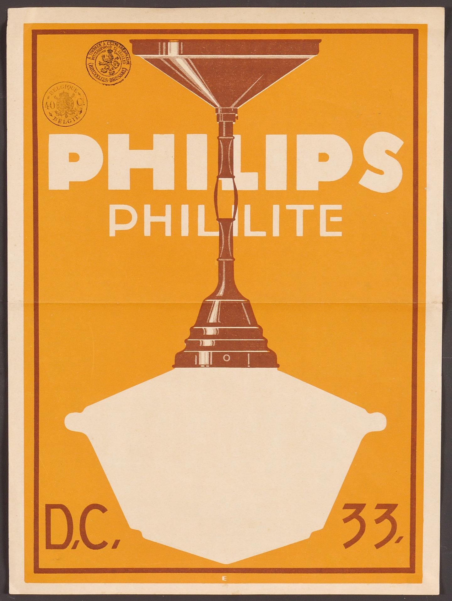 Reclameaffiche voor Phililite, luchter van het merk Philips