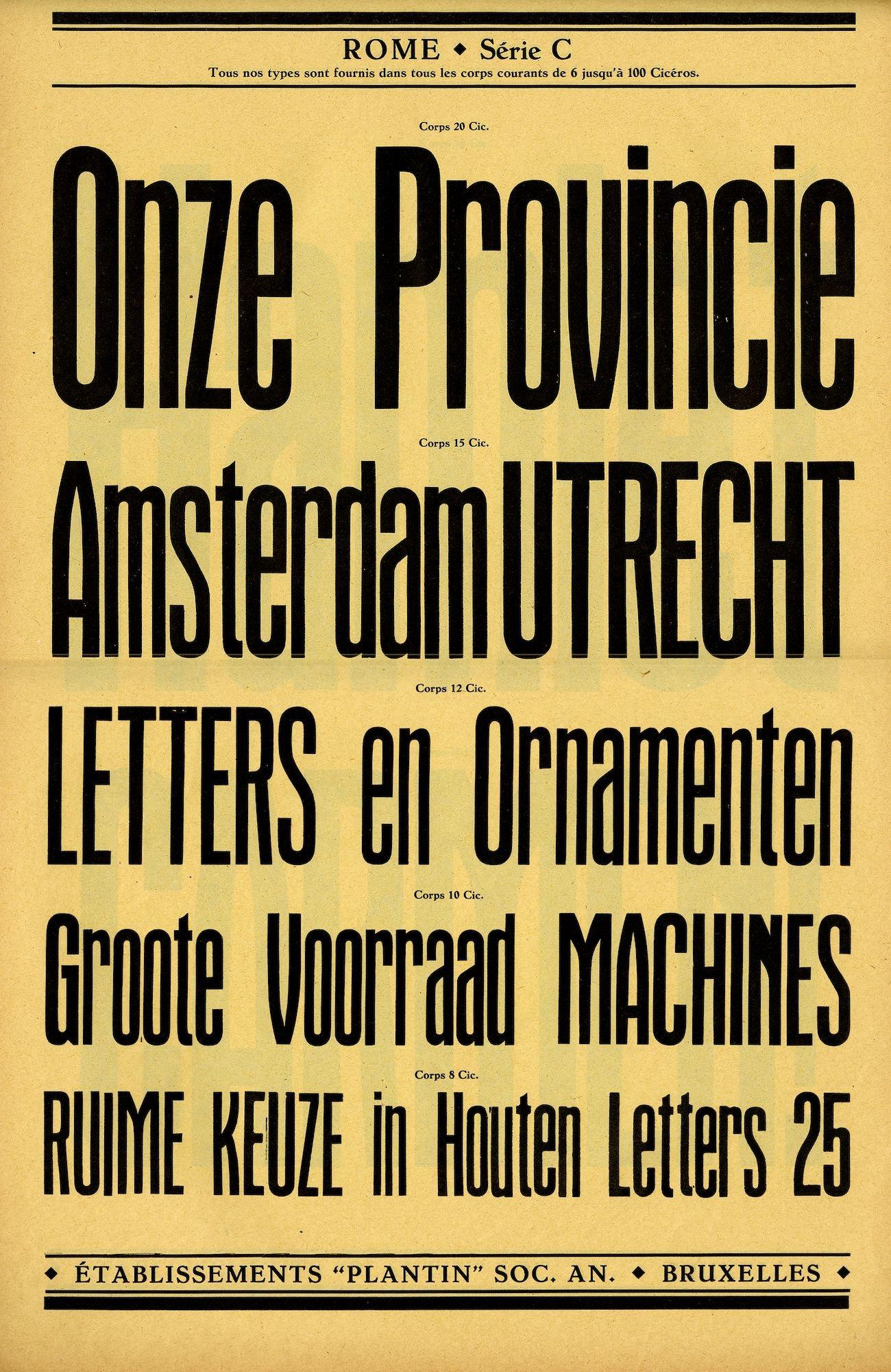 Voorbeeld van het lettertype Rome Série C van de firma Plantin te Brussel