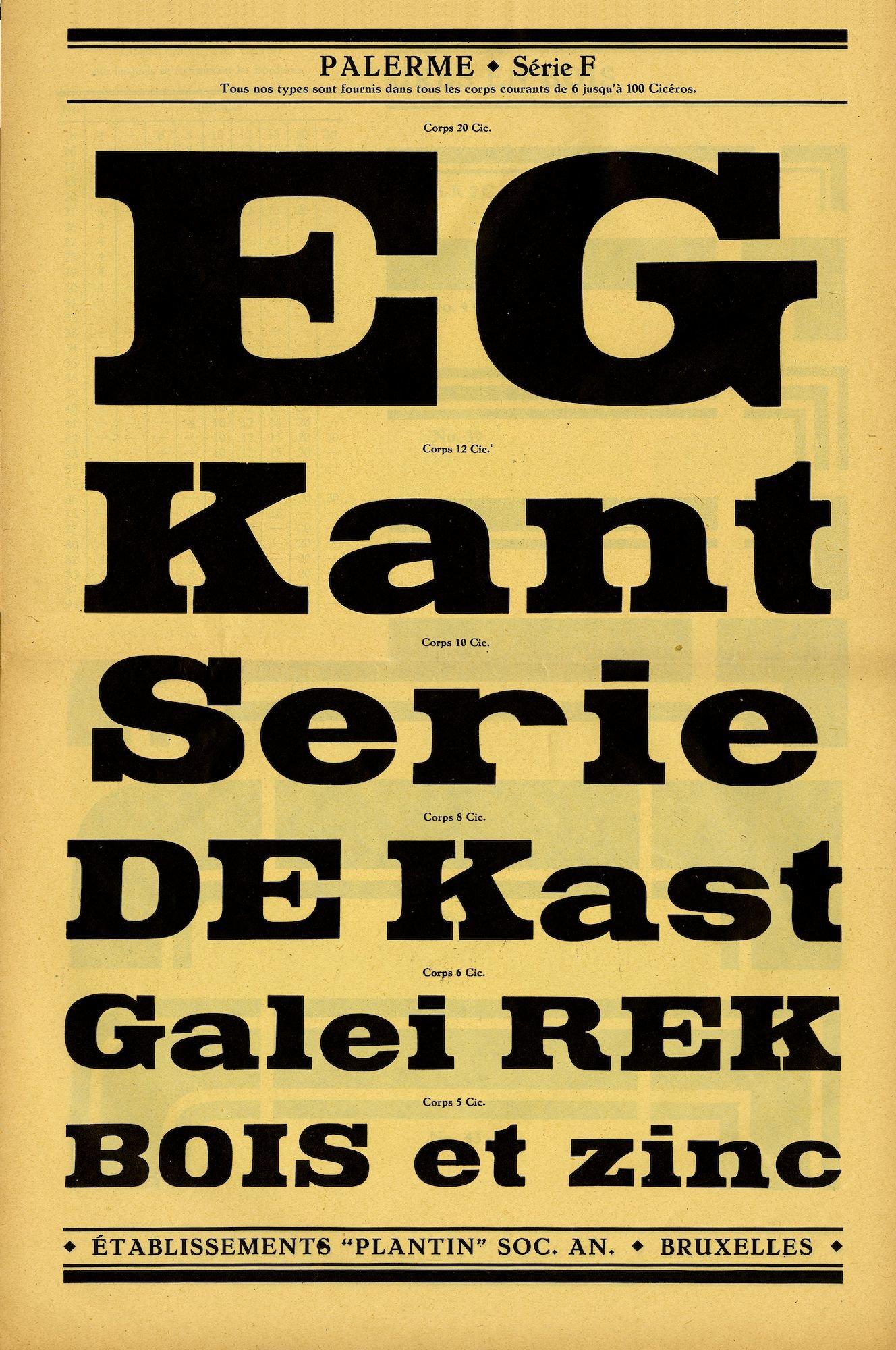 Voorbeeld van het lettertype Palerme Série F van de firma Plantin te Brussel