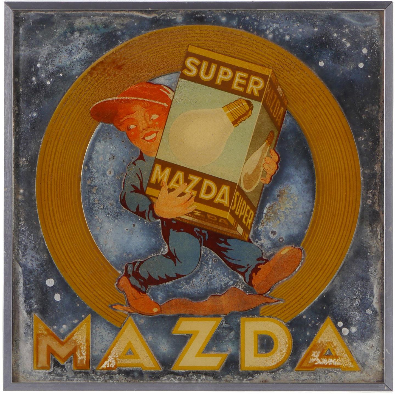 Spiegel met reclame voor lampen van het merk MAZDA