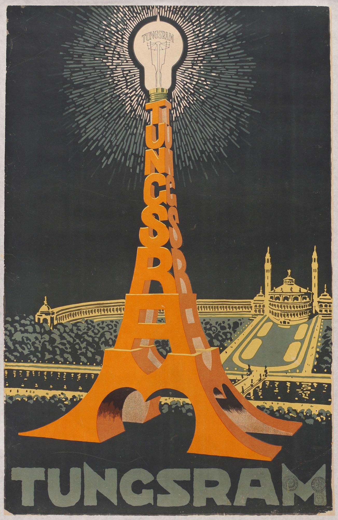 Affiche voor gloeilampen van het merk Tungsram