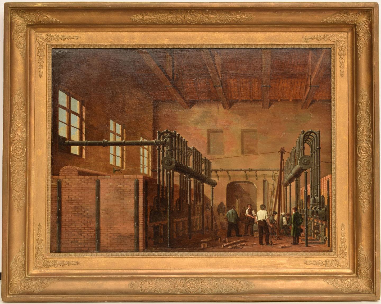 Schilderij 'La fabrique de gaz de Roelandt à Gand'