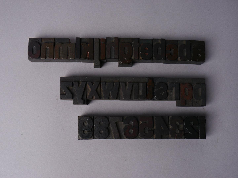 Houten drukletters van het type Gothic