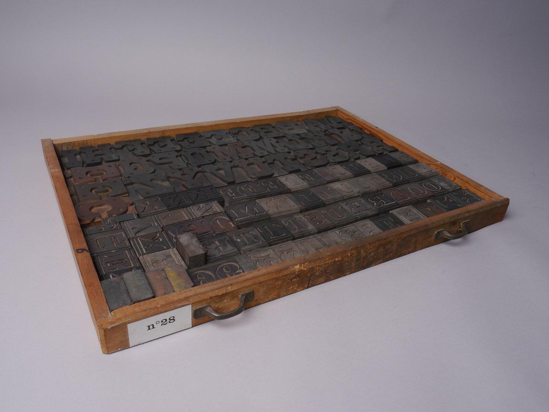 Houten drukletters van het type Mansard Ornamented