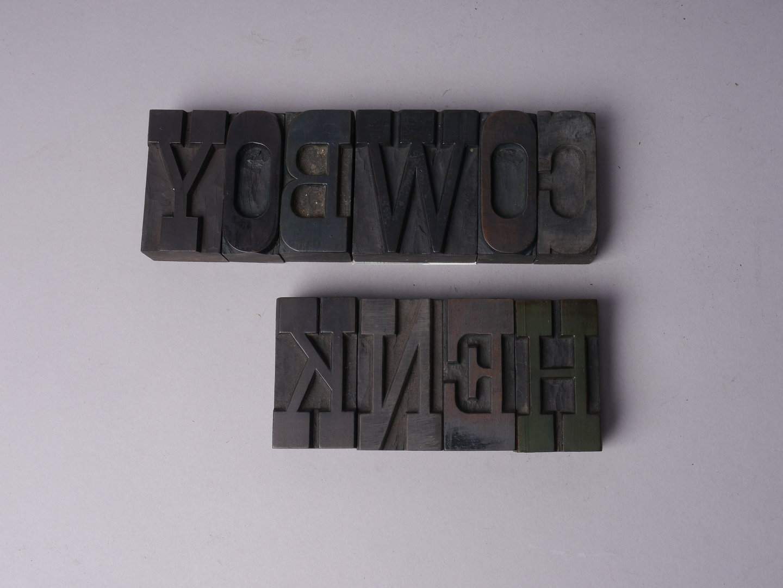 Houten drukletters van het type Egyptian Antique