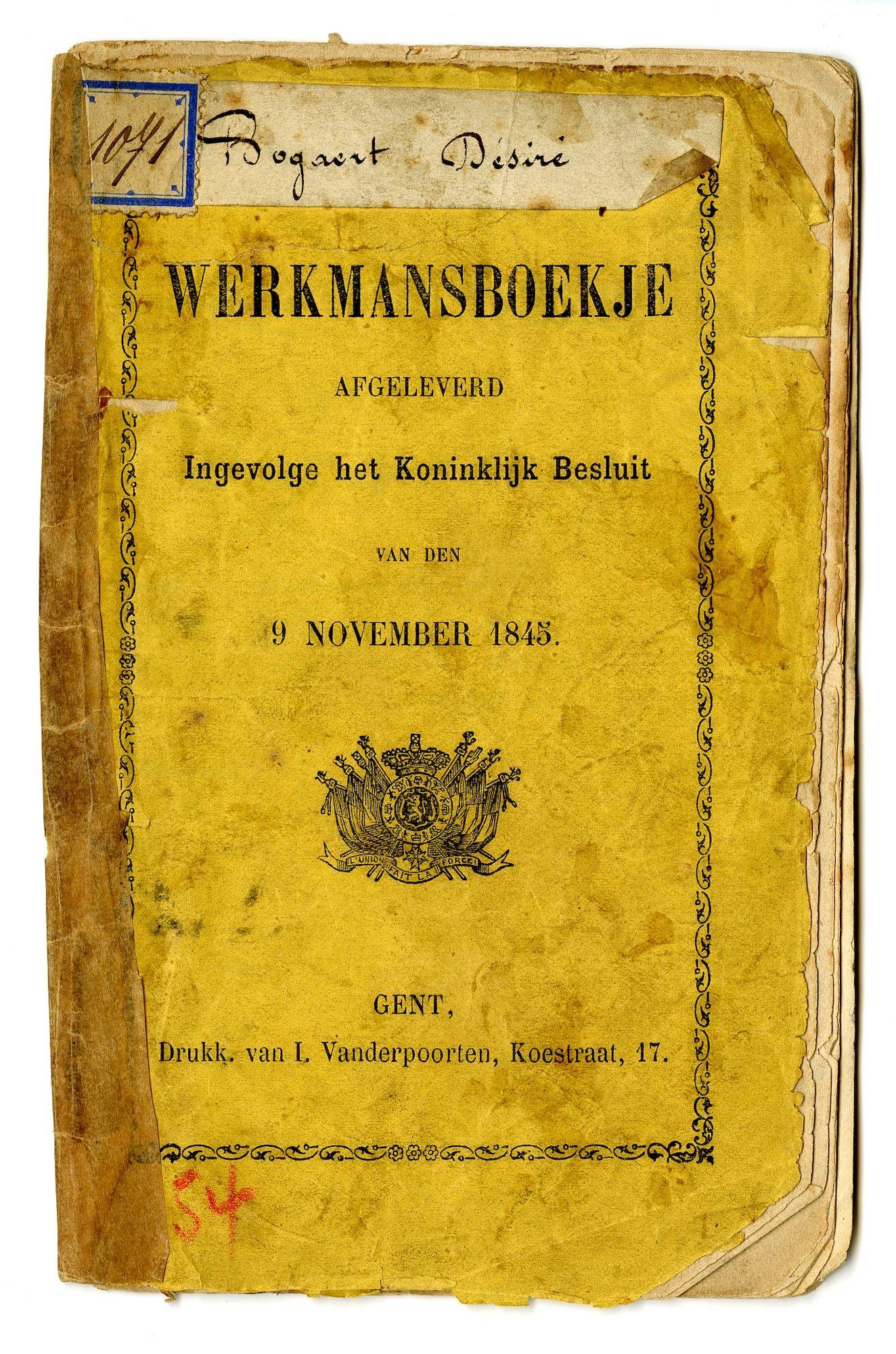 Werkboekje van D. Bogaert