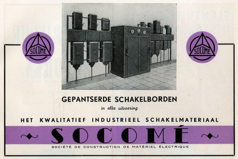 Reclame voor gepantserde schakelborden van het merk Socomé