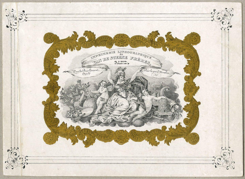 Visitekaart van steendrukkerij Van de Steene