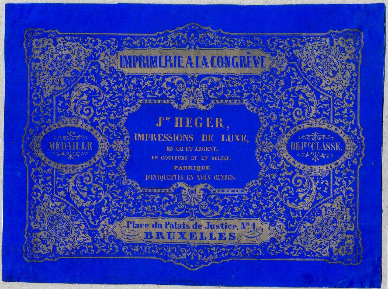 Visitekaart van drukker Heger