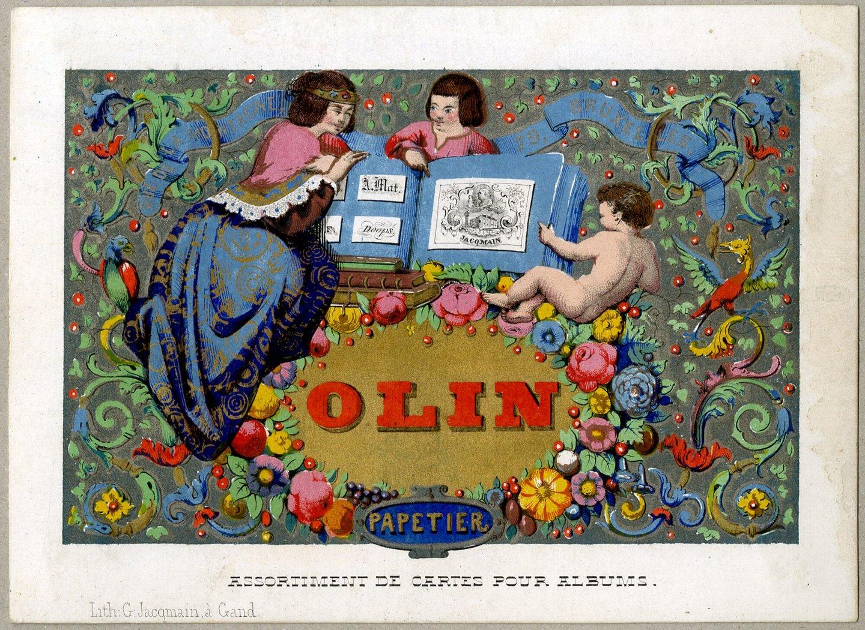 Visitekaart van papierhandelaar Olin te Brussel