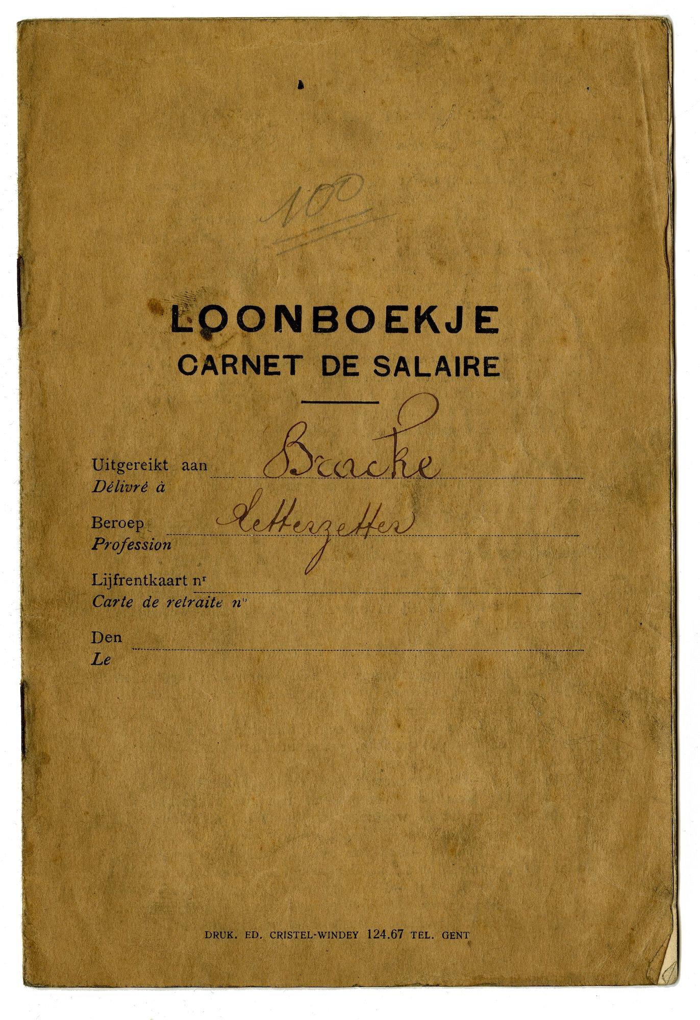 Loonboekje van letterzetter Bracke