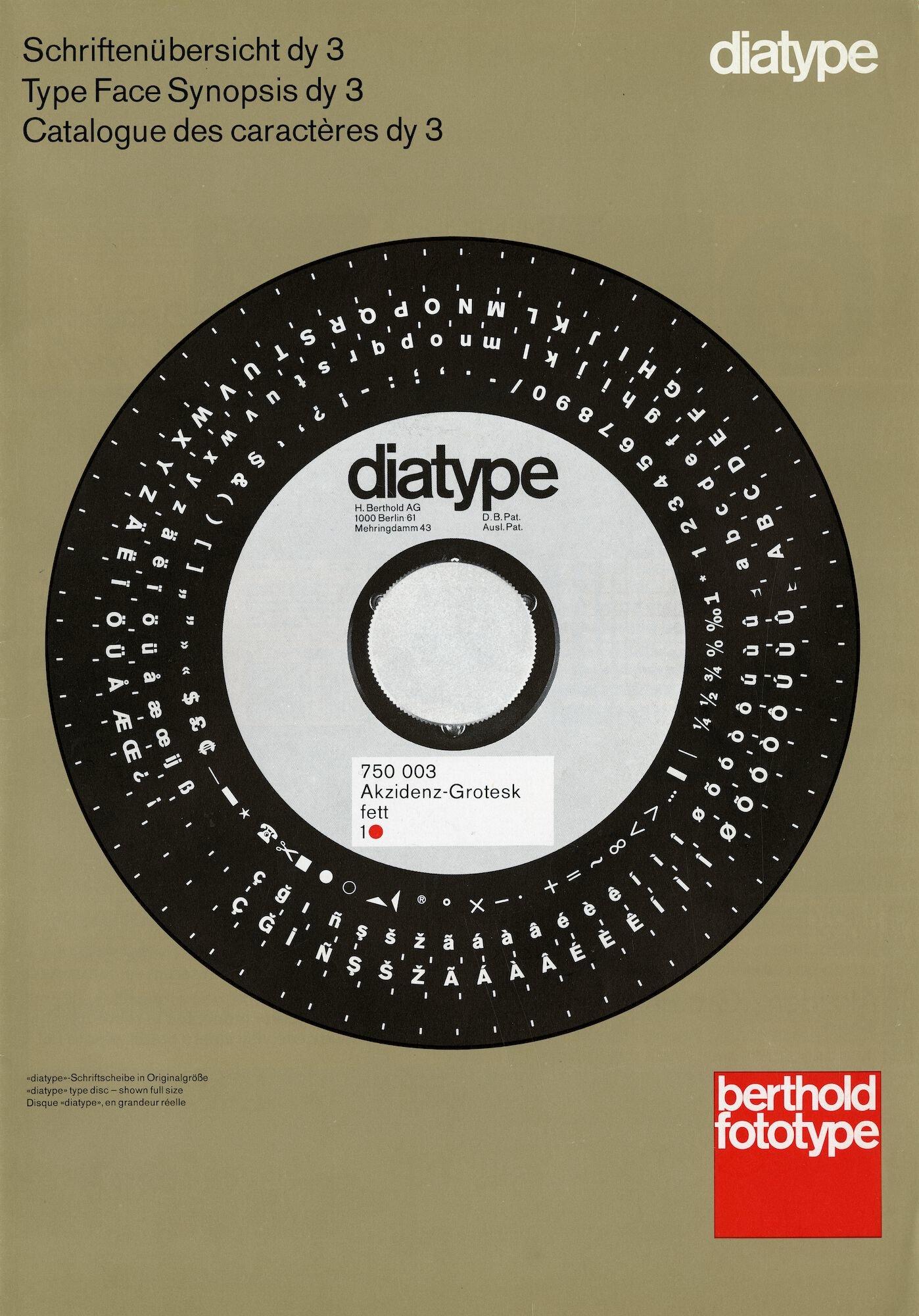 Letterproef voor de Diatype fotozetmachine van het merk Berthold