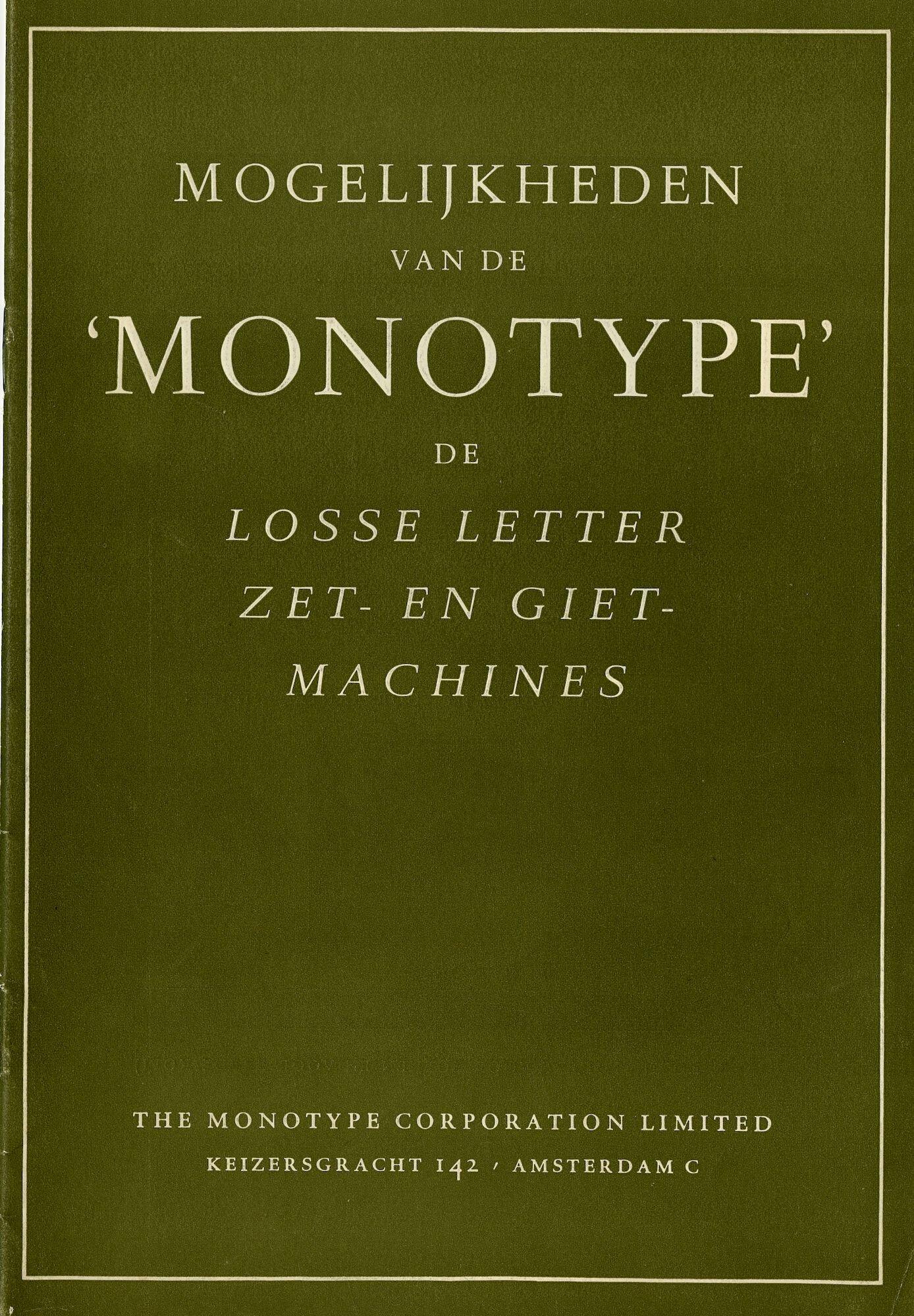Informatieve brochure over Monotype zetmachine