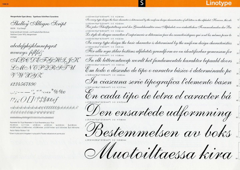 Letterproef met het lettertype Shelley Allegro Script voor Lynotype