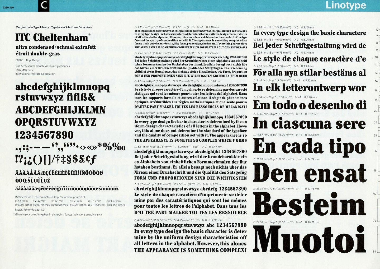 Letterproef met het lettertype ITC Cheltenham voor Lynotype