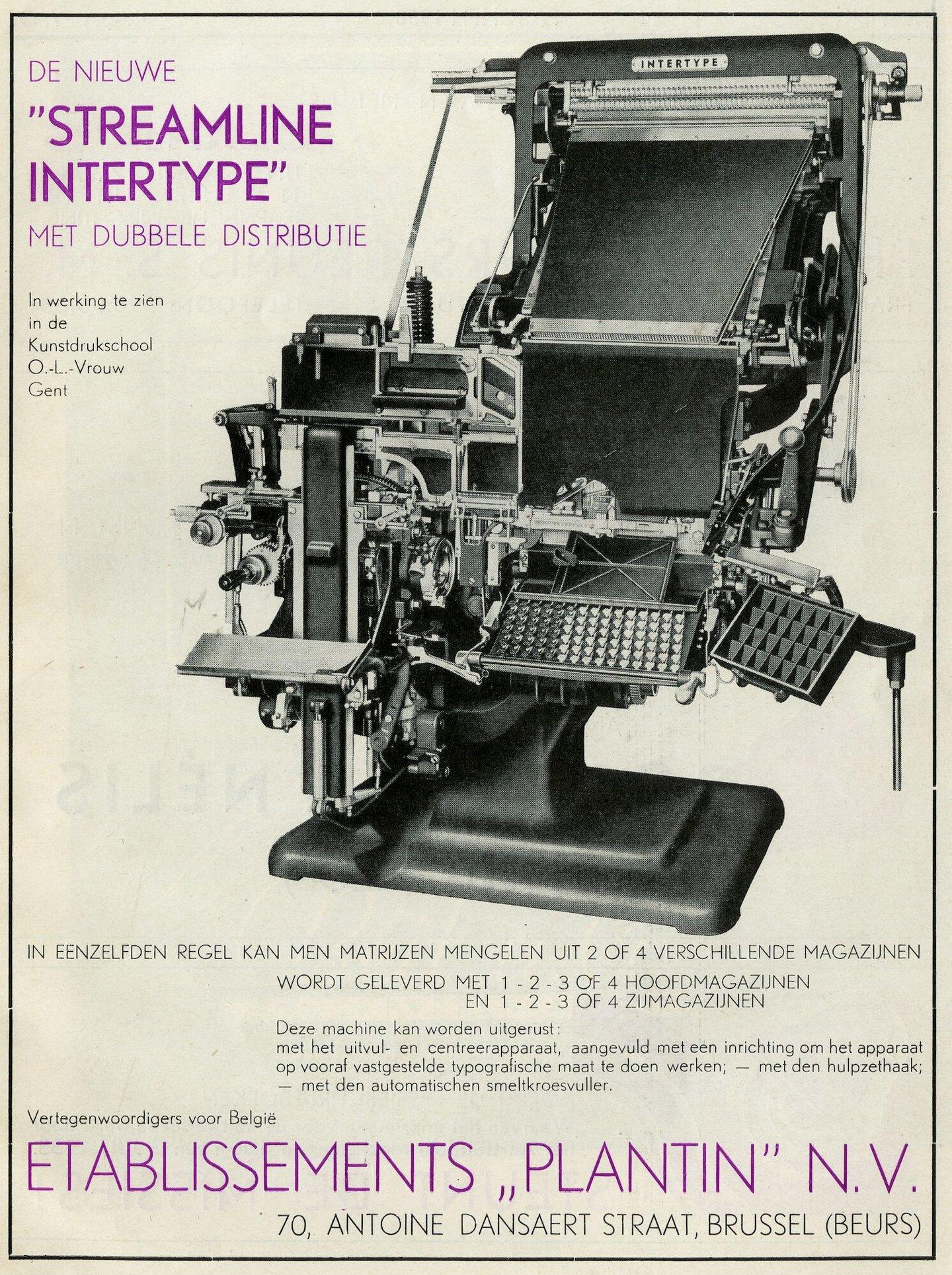 Reclame voor Intertype zetmachine verdeeld door Plantin