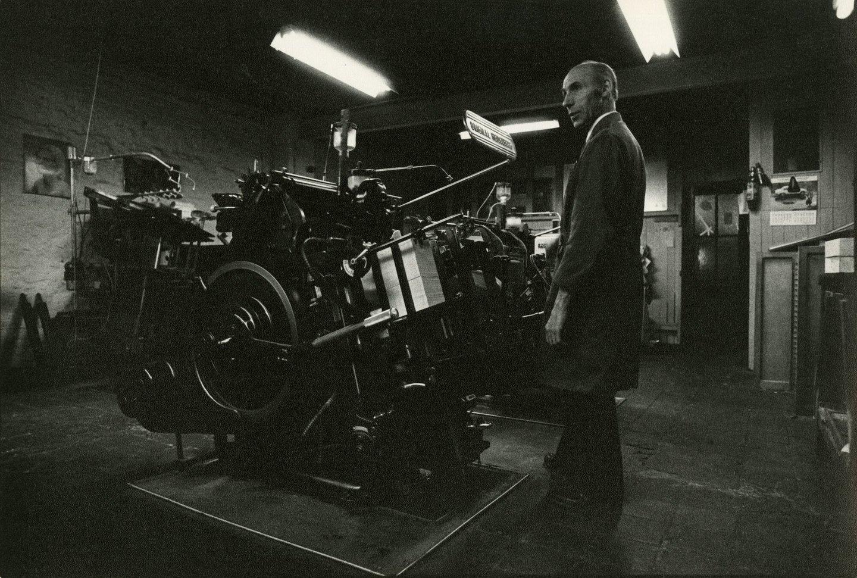 Wilfried Geltmeyer aan de Heidelberg degelpers