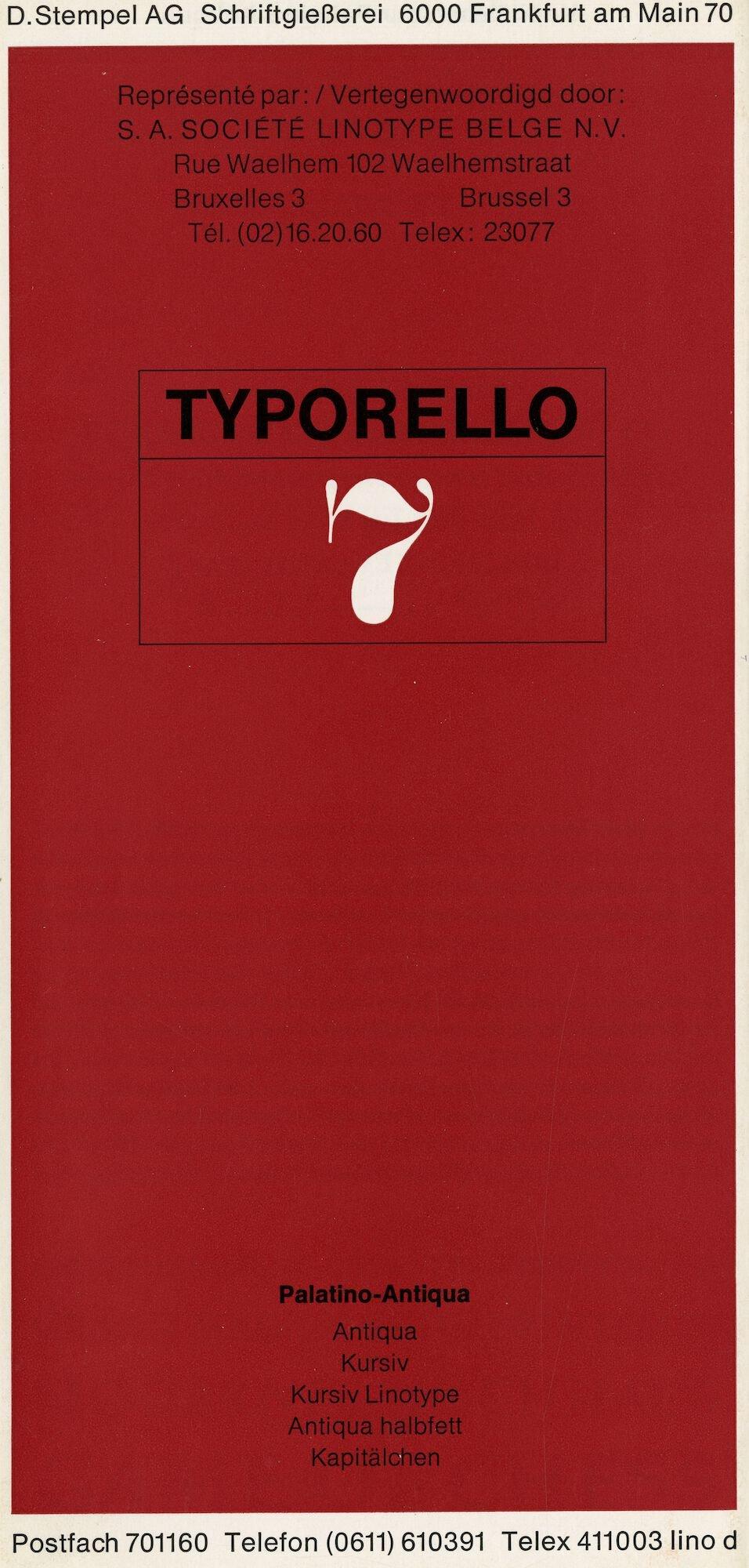 Letterproef met het lettertype Palatino-Antiqua voor Linotype