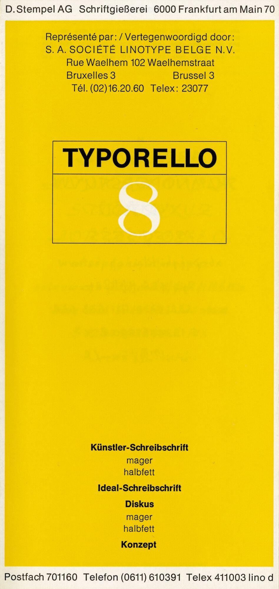 Letterproef met verschillende lettertypes voor Linotype