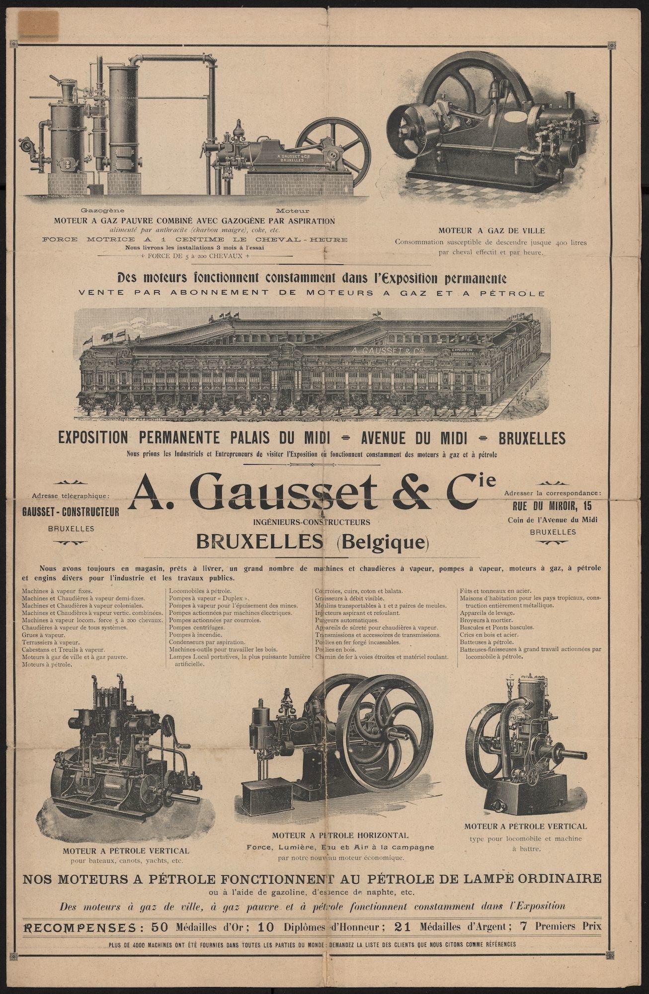 Verkoopsfolder van het constructieatelier A. Gausset & Cie. te Brussel