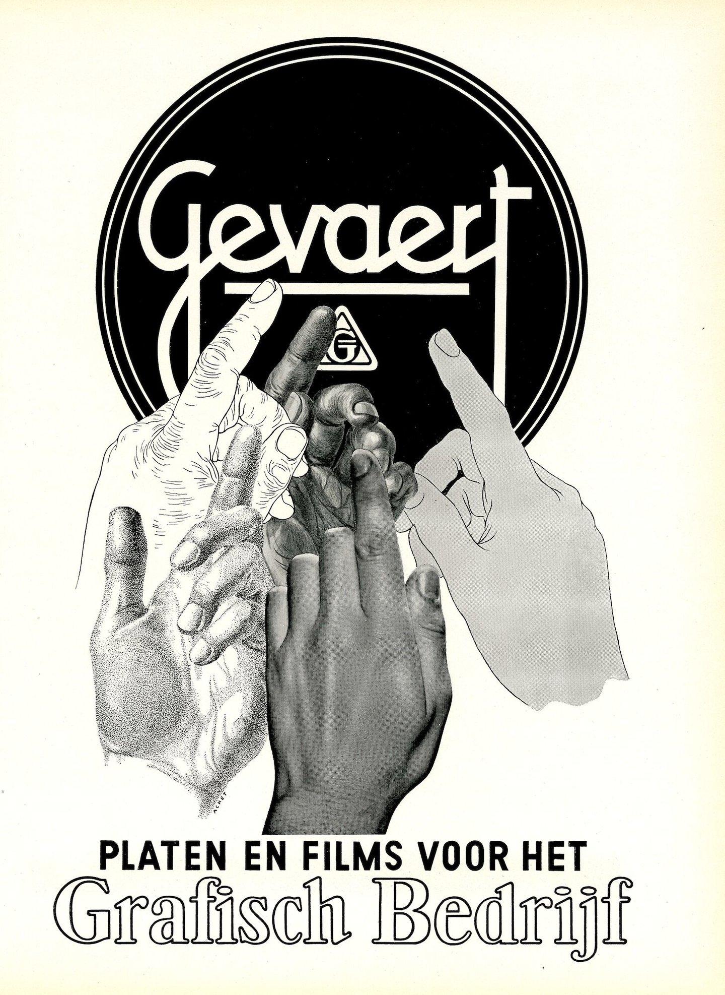 Reclame voor platen en films voor het grafisch bedrijf van het merk Gevaert