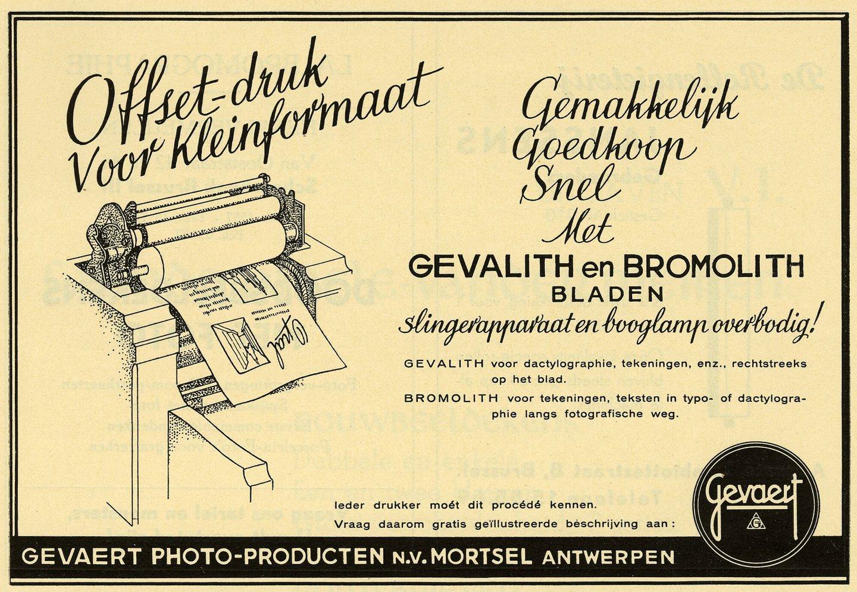 Reclame voor kleinformaat offset-druk van het merk Gevaert