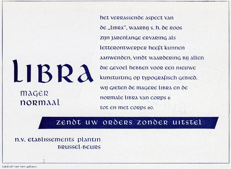 Reclame voor Libra letterfont verdeeld door Plantin