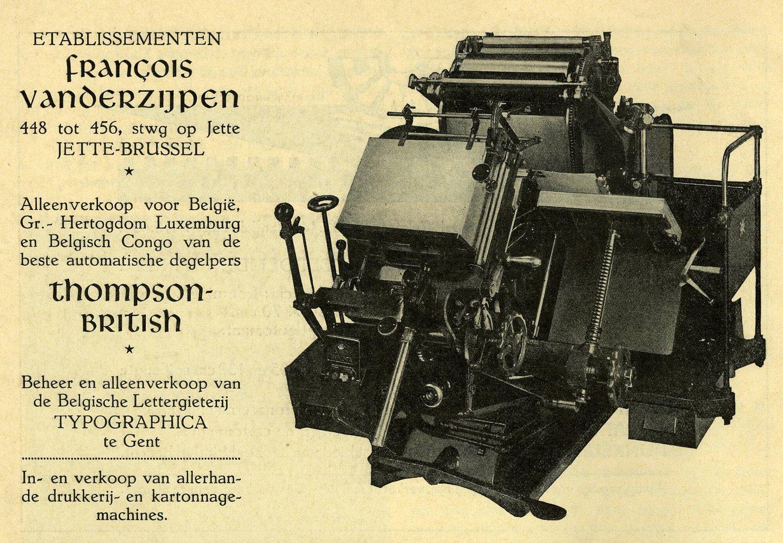 Reclame voor drukkerijmachines verdeeld door Vanderzijpen