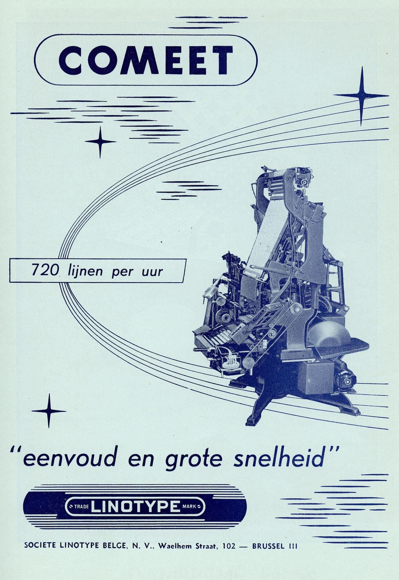 Reclame voor Linotype zetmachine door Société Linotype Belge