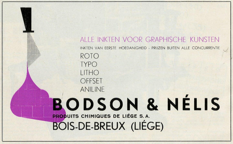 Reclame voor drukinkt van het merk Bodson & Nélis