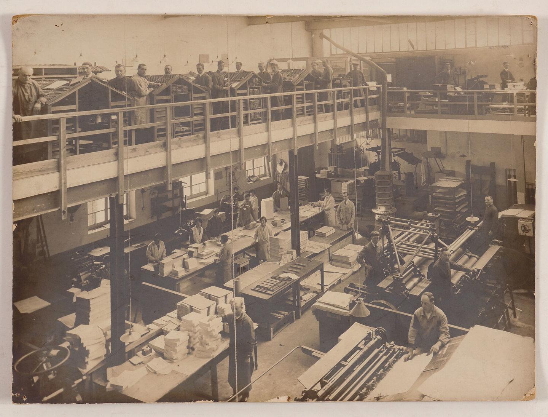 Binnenzicht van drukkerij Erasmus te Ledeberg