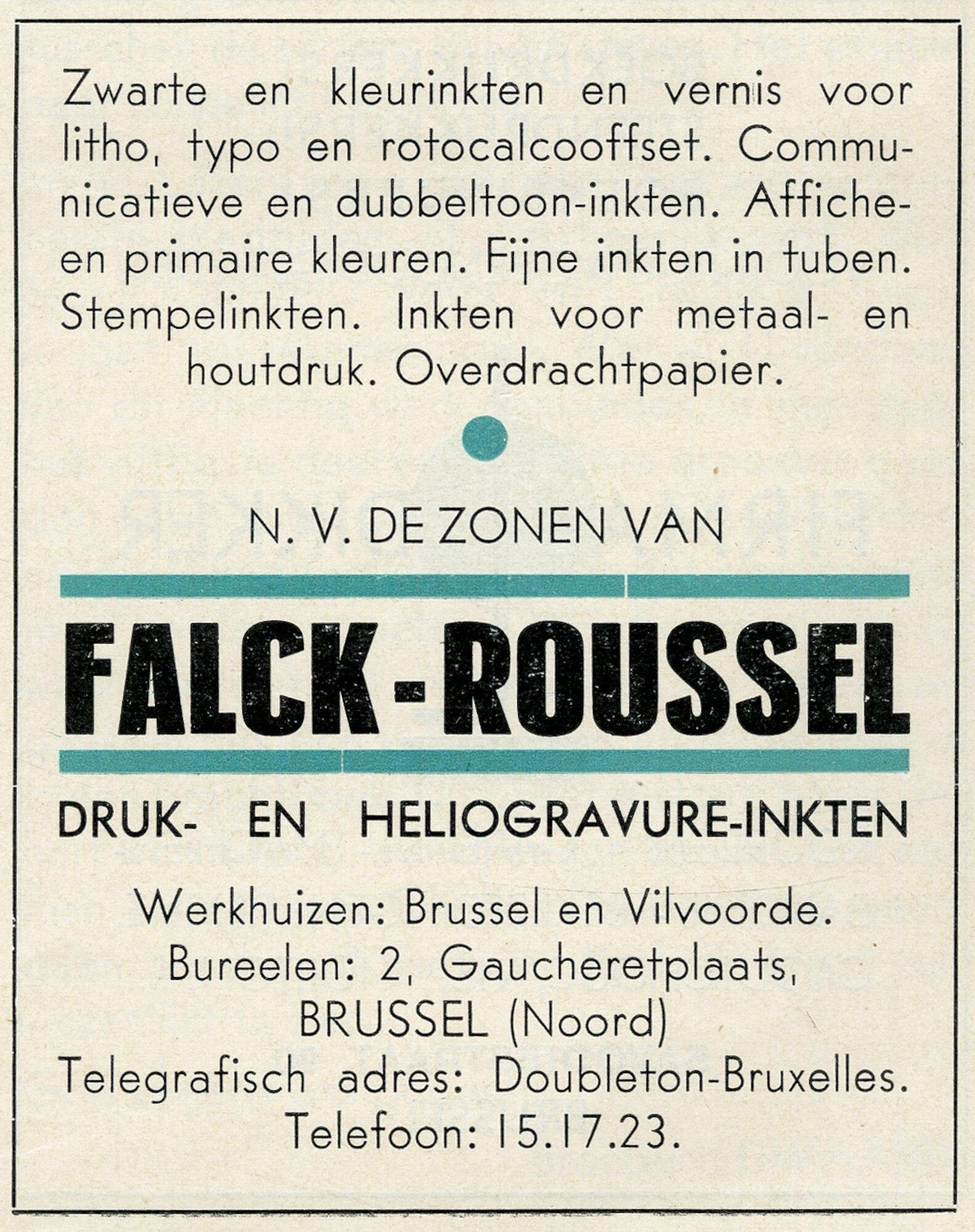 Reclame voor drukinkt van het merk Falck-Roussel
