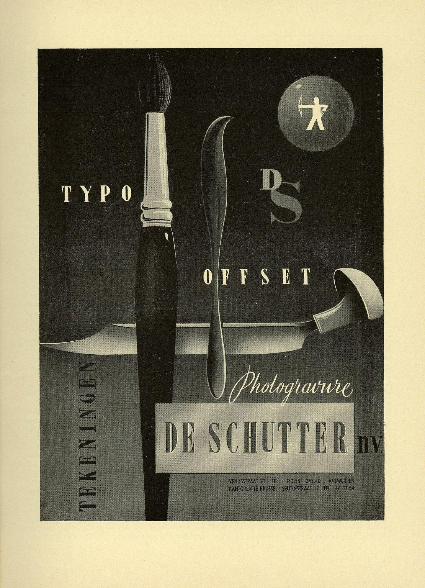 Reclame voor grafisch bedrijf De Schutter