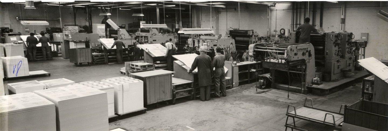 Binnenzicht van drukkerij Van Melle te Mariakerke