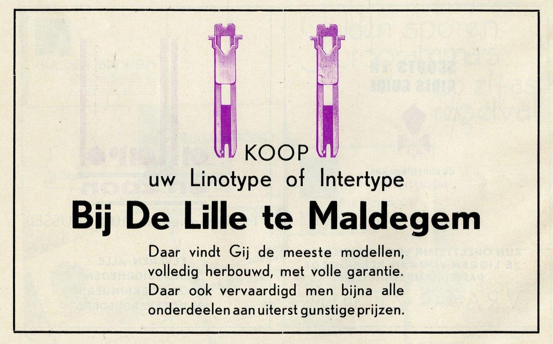 Reclame voor Linotype en Intertype zetmachines verdeeld door De Lille