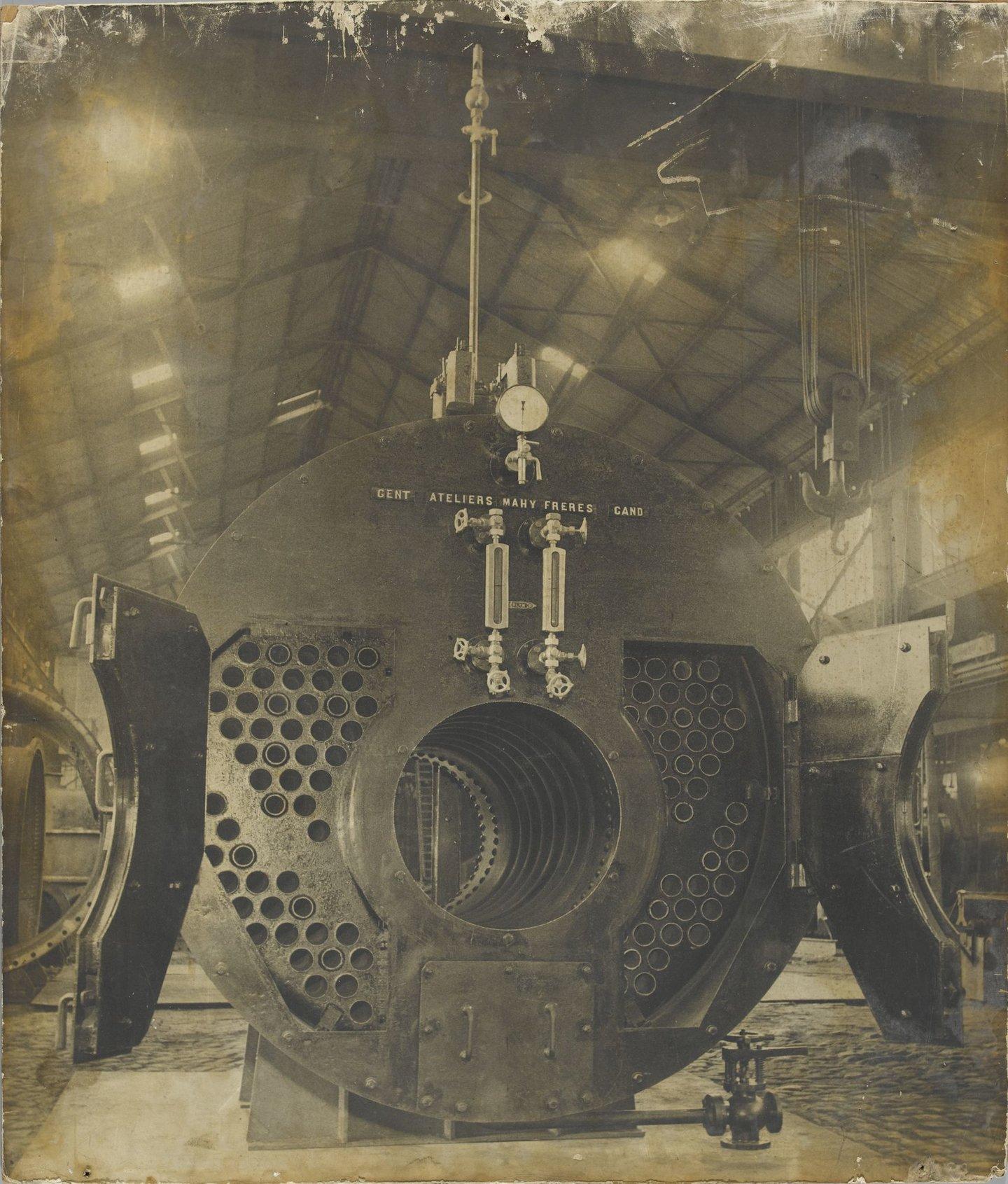 Onderdeel van stoomketel in het construcitebedrijf Ateliers Mahy Frères