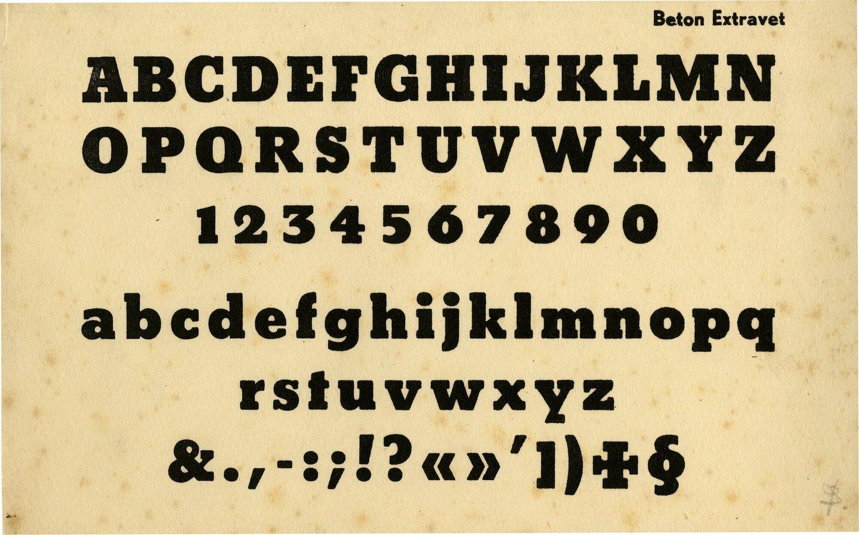 Letterproef van het lettertype Beton Extravet