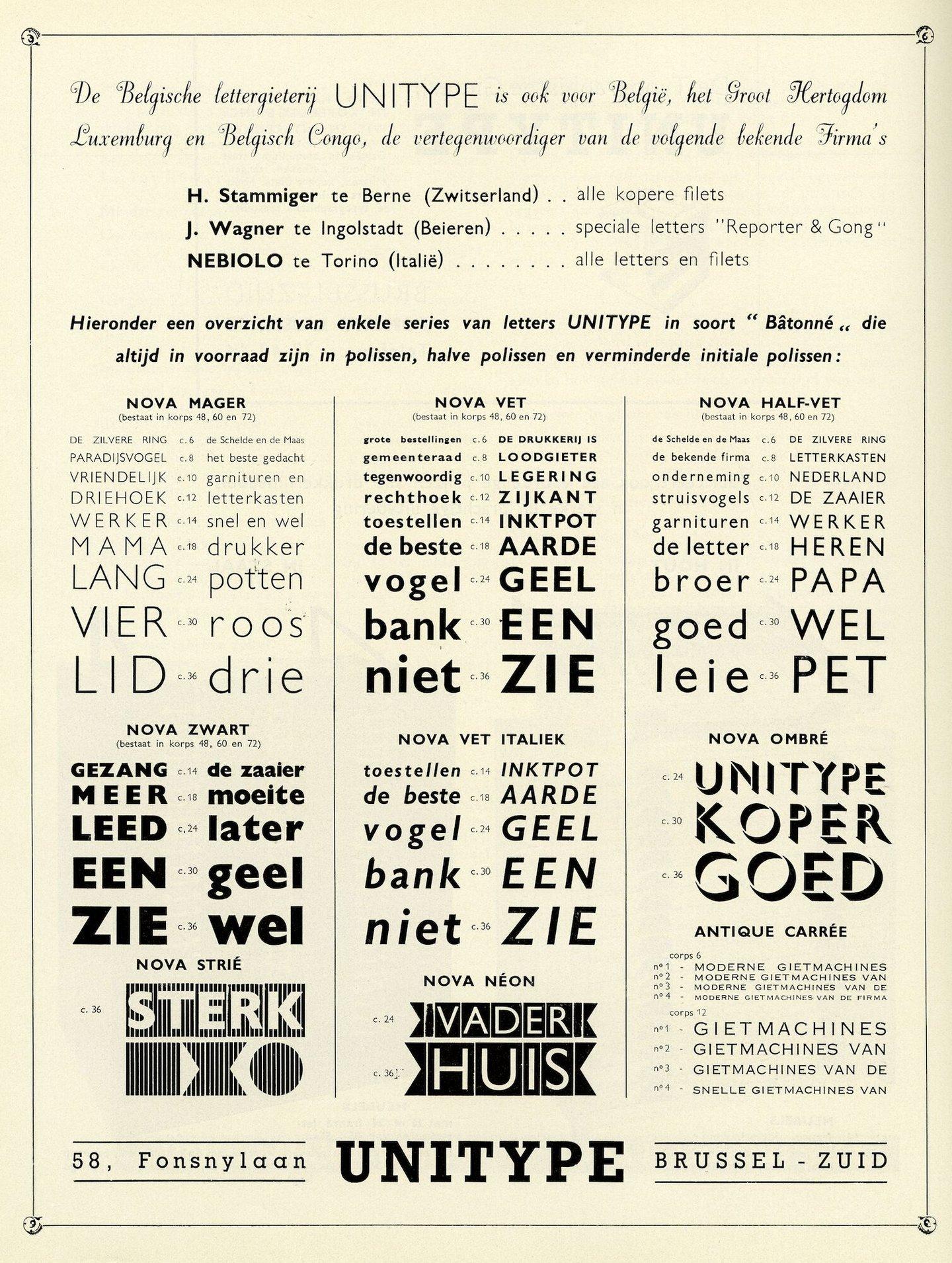Reclame voor letterfonts geproduceerd en verdeeld door Unitype