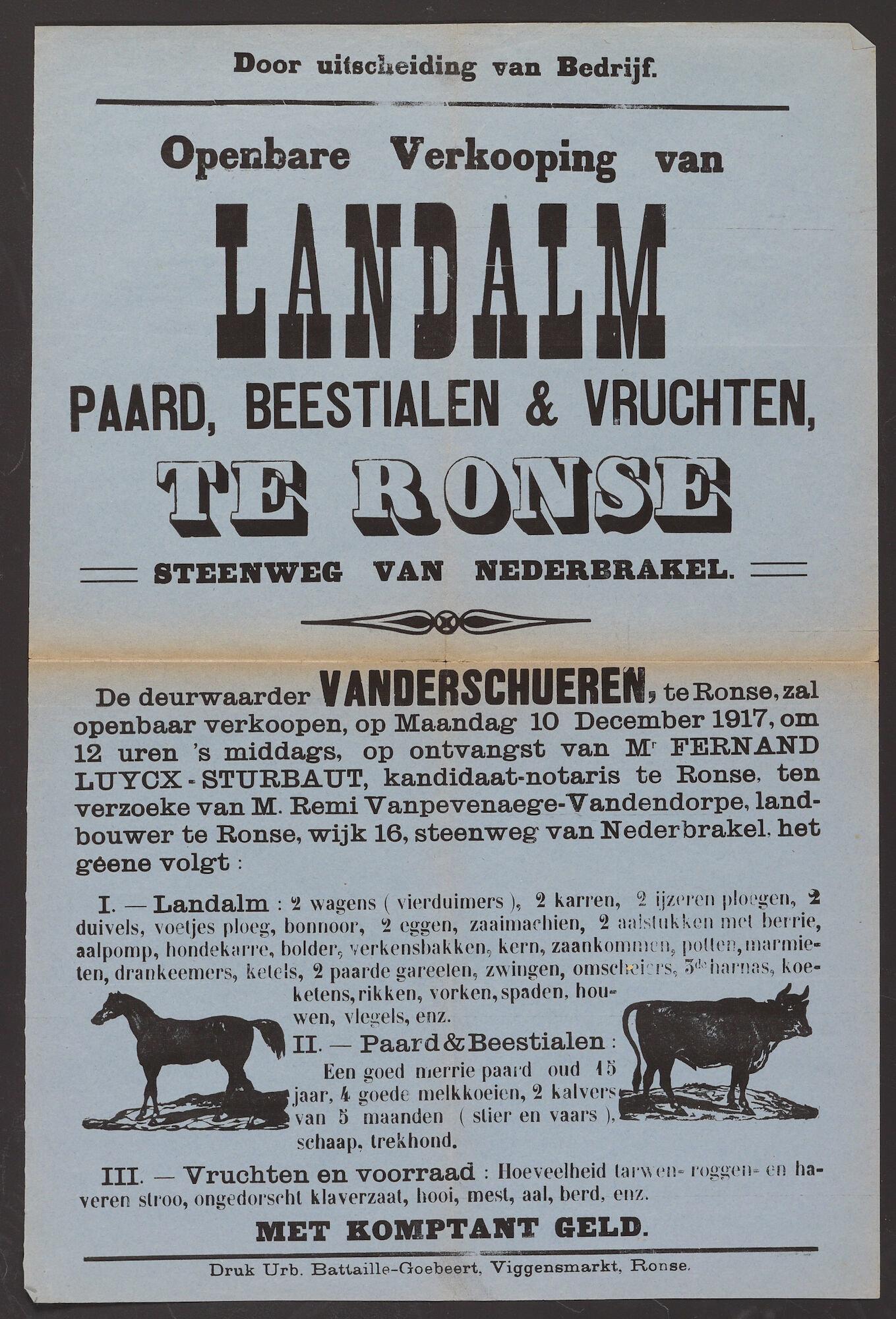 Affiche met aankondiging voor openbare verkoop van lanbouwwerktuigen, dieren en vruchten