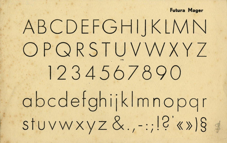 Letterproef van het lettertype Futura Mager